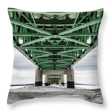 Throw Pillow featuring the photograph Icy Mackinac Bridge In Winter by John McGraw