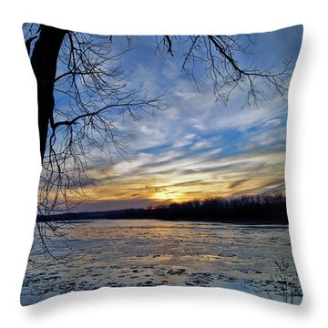 Throw Pillow featuring the photograph Icy River by Cricket Hackmann