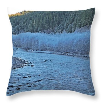 Icy River Throw Pillow by Jack Moskovita