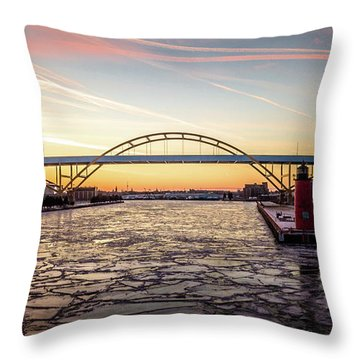 Throw Pillow featuring the photograph Icy River Sunset by Randy Scherkenbach