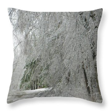 Icy Street Trees Throw Pillow
