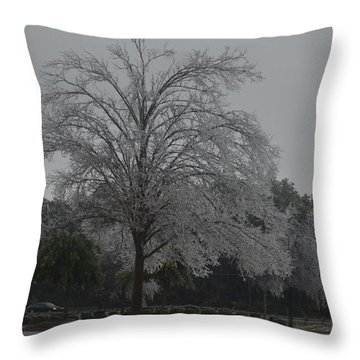 Icy Tree Throw Pillow by Gordon Mooneyhan