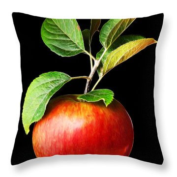 Ida Red Apple And Leaves Throw Pillow by Wernher Krutein