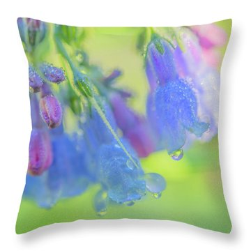 Idaho Bluebells Morning Dew Throw Pillow