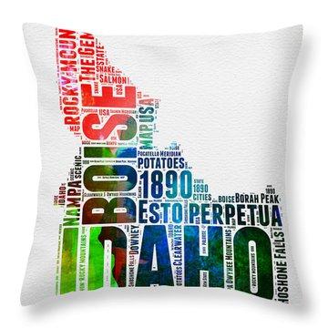 Idaho Watercolor Word Cloud  Throw Pillow