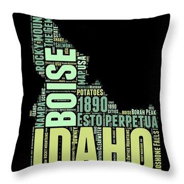 Idaho Word Cloud 1 Throw Pillow