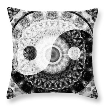 Throw Pillow featuring the painting Ideal Balance Black And White Yin And Yang By Sharon Cummings by Sharon Cummings