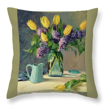 Ideal - Yellow Tulips And Lilacs In A Blue Mason Jar Throw Pillow