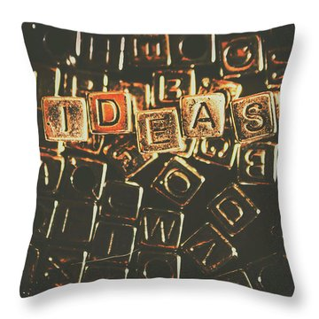 Ideas Letterpress Typography Throw Pillow