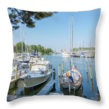 Idle Boats Throw Pillow