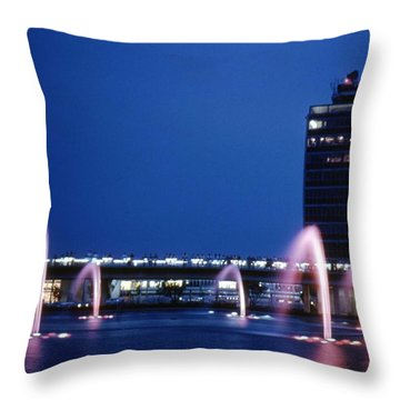 Throw Pillow featuring the photograph Idlewild Fountain And Tower by John Schneider