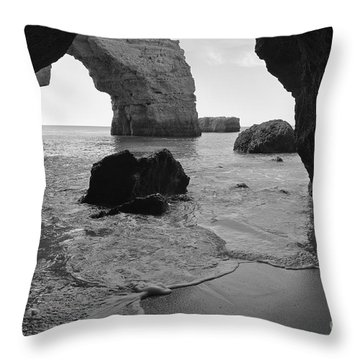 Idyllic Cave In Monochrome Throw Pillow
