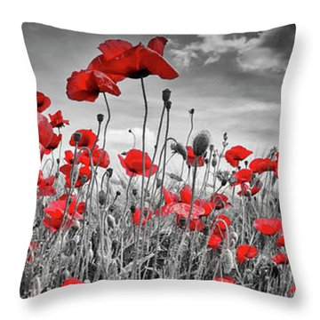 Idyllic Field Of Poppies With Sun - Panorama Throw Pillow