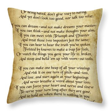 If By Rudyard Kipling - Long Parchment Style  Throw Pillow