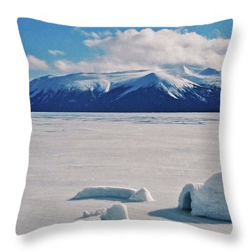 Igloo On Atlin Lake - Bc Throw Pillow by Juergen Weiss