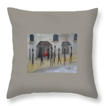 Throw Pillow featuring the painting Ignoring The Homeless by Judith Rhue