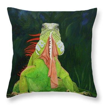Iguana Dude Throw Pillow