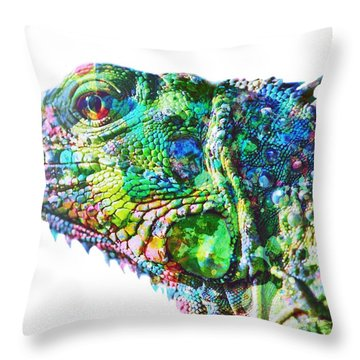 Throw Pillow featuring the painting Iguana by Mark Taylor