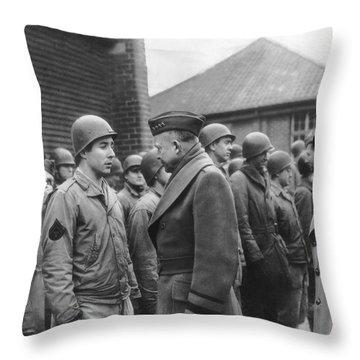 Ike Checks Invasion Forces Throw Pillow