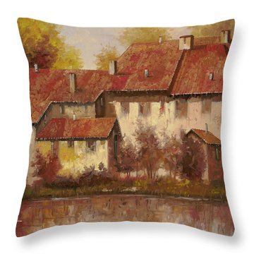 Il Borgo Rosso Throw Pillow by Guido Borelli