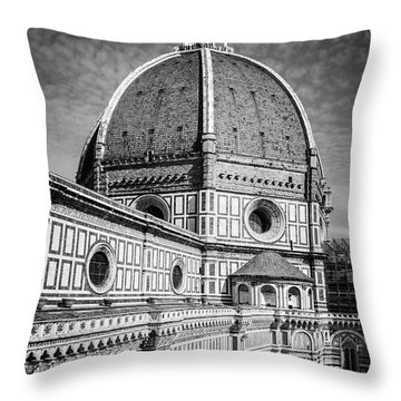 Throw Pillow featuring the photograph Il Duomo Florence Italy Bw by Joan Carroll