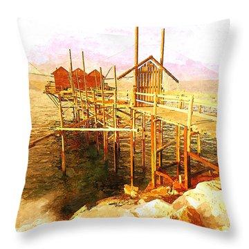 Il Grande Trabucco - Trebuchet Fishing Throw Pillow