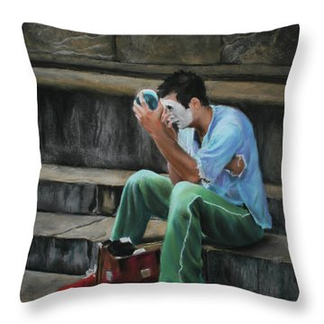 Il Mimo - The Mime Florence Italy Throw Pillow by Kelly Borsheim