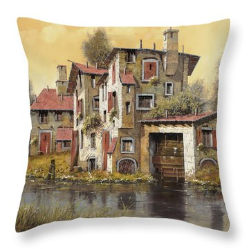 Il Mulino Giallo Throw Pillow by Guido Borelli