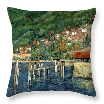 il porto di Bellano Throw Pillow