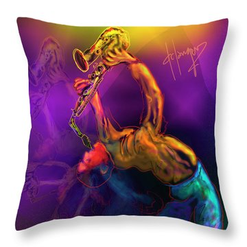 Throw Pillow featuring the painting I'll Bend Over Backwards For Your Love by DC Langer