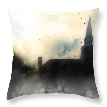 Throw Pillow featuring the painting I'll Fly Away by Gray  Artus