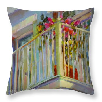 Throw Pillow featuring the painting I'll Leave The Porch Light On by Chris Brandley