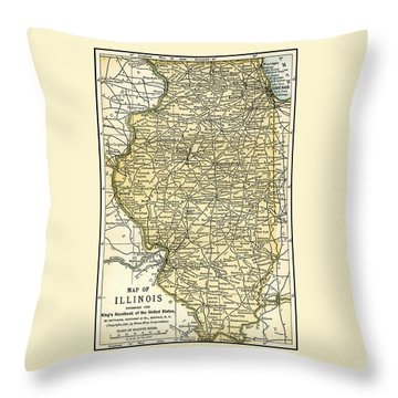 Illinois Antique Map 1891 Throw Pillow