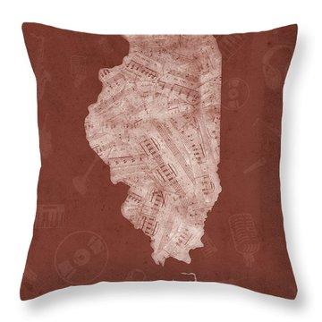 Illinois Map Music Notes 5 Throw Pillow