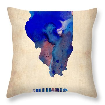 Illinois Watercolor Map Throw Pillow
