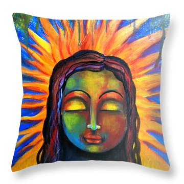 Illuminated By Her Own Radiant Self Throw Pillow