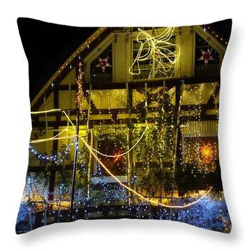 Illuminated Christmas-house Throw Pillow