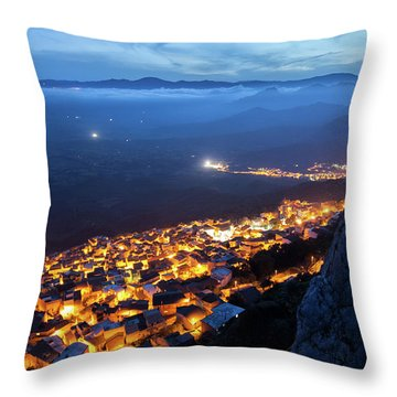 Illuminated Country At Night Throw Pillow