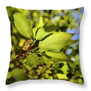 Illuminated Leaves Throw Pillow