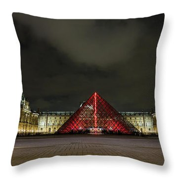 Illuminated Louvre Museum, Paris Throw Pillow
