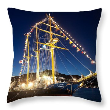 Illuminated Sailing Ship Throw Pillow by Aiolos Greek Collections