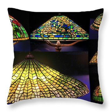 Illuminated Tiffany Lamps - A Collage Throw Pillow
