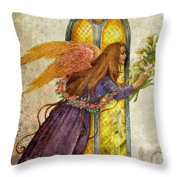 Illustrated Angel And Lily Throw Pillow
