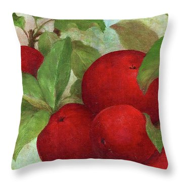 Illustrated Apples Throw Pillow