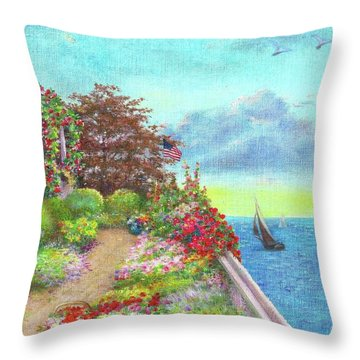 Illustrated Beach Cottage Water's Edge Throw Pillow