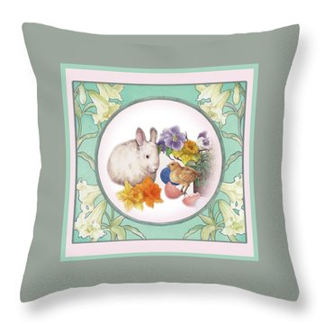 Illustrated Bunny With Easter Floral Throw Pillow