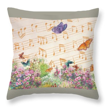 Illustrated Butterfly Garden With Musical Notes Throw Pillow