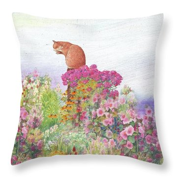 Illustrated Cat In Garden Throw Pillow