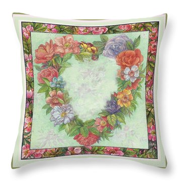 Illustrated Heart Wreath Throw Pillow