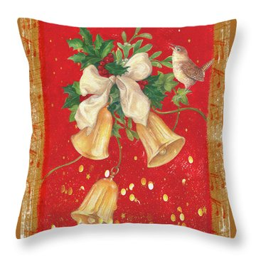 Illustrated Holly, Bells With Birdie Throw Pillow